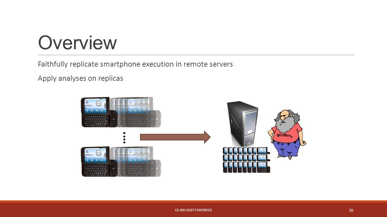 Overview Faithfully replicate smartphone execution in remote servers Apply analyses on replicas CS-695 HOST FORENSICS 16 ….