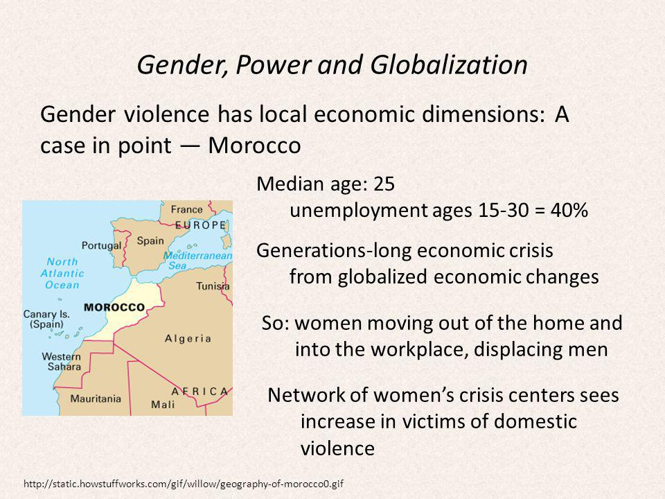 Gender, Power and Globalization Gender violence has local economic dimensions: A case in point Morocco Median age: 25 unemployment ages 15-30 = 40% Generations-long economic crisis from globalized economic changes So: women moving out of the home and into the workplace, displacing men Network of womens crisis centers sees increase in victims of domestic violence http://static.howstuffworks.com/gif/willow/geography-of-morocco0.gif