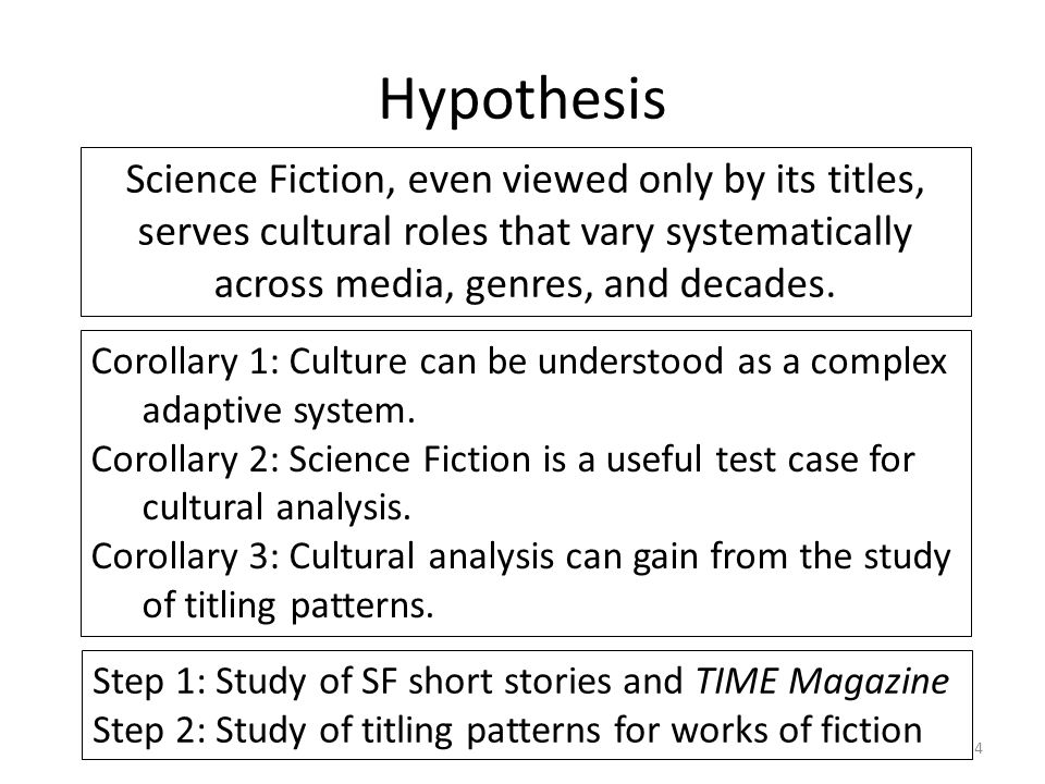 Hypothesis 4 Science Fiction, even viewed only by its titles, serves cultural roles that vary systematically across media, genres, and decades.