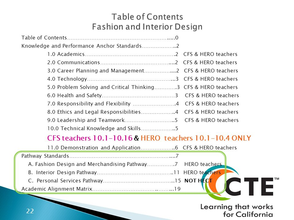 Table of Contents………………………………………………….....0 Knowledge and Performance Anchor Standards………………..2 1.0 Academics…………………………………………….2 CFS & HERO teachers 2.0 Communications…………………………………....2 CFS & HERO teachers 3.0 Career Planning and Management……………....2 CFS & HERO teachers 4.0 Technology…………………………………………...3 CFS & HERO teachers 5.0 Problem Solving and Critical Thinking………….3 CFS & HERO teachers 6.0 Health and Safety……………………………………3 CFS & HERO teachers 7.0 Responsibility and Flexibility …………………….4 CFS & HERO teachers 8.0 Ethics and Legal Responsibilities………………..4 CFS & HERO teachers 9.0 Leadership and Teamwork………………………..5 CFS & HERO teachers 10.0 Technical Knowledge and Skills………………..5 CFS teachers 10.1-10.16 & HERO teachers 10.1-10.4 ONLY 11.0 Demonstration and Application………………..6 CFS & HERO teachers Pathway Standards…………………………………………………....7 A.