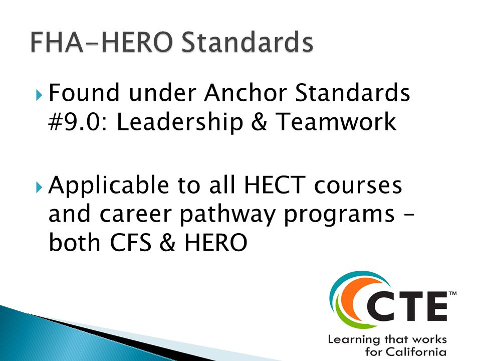 Found under Anchor Standards #9.0: Leadership & Teamwork Applicable to all HECT courses and career pathway programs – both CFS & HERO
