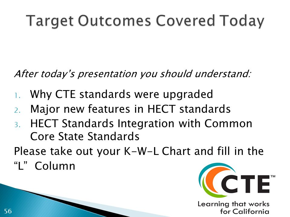 After todays presentation you should understand: 1. Why CTE standards were upgraded 2. Major new features in HECT standards 3. HECT Standards Integrat