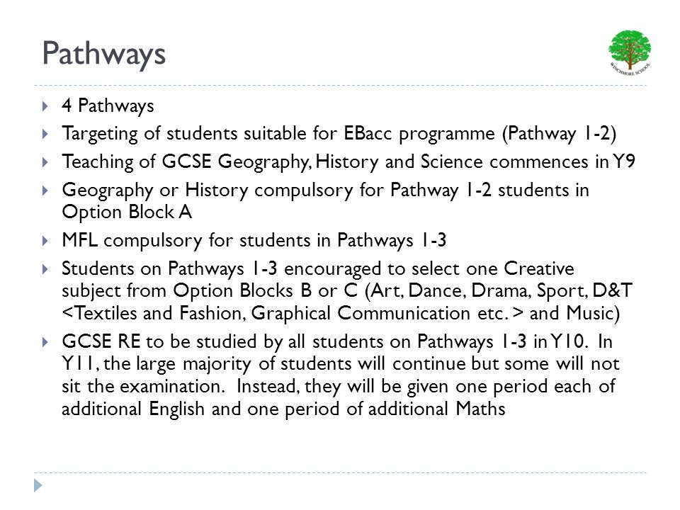 Pathways 4 Pathways Targeting of students suitable for EBacc programme (Pathway 1-2) Teaching of GCSE Geography, History and Science commences in Y9 Geography or History compulsory for Pathway 1-2 students in Option Block A MFL compulsory for students in Pathways 1-3 Students on Pathways 1-3 encouraged to select one Creative subject from Option Blocks B or C (Art, Dance, Drama, Sport, D&T and Music) GCSE RE to be studied by all students on Pathways 1-3 in Y10.