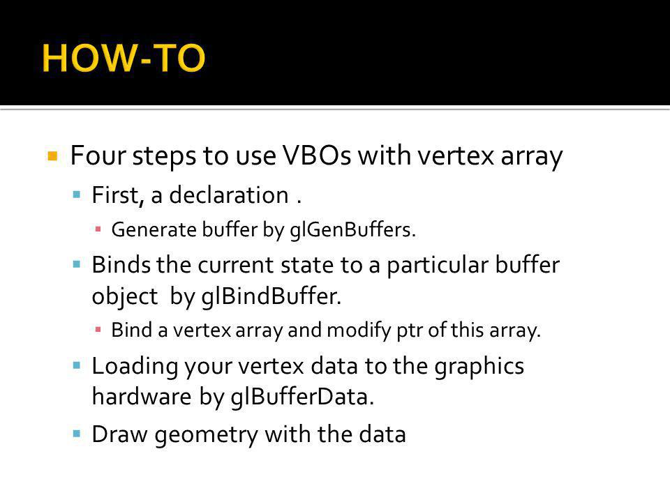 Four steps to use VBOs with vertex array First, a declaration.