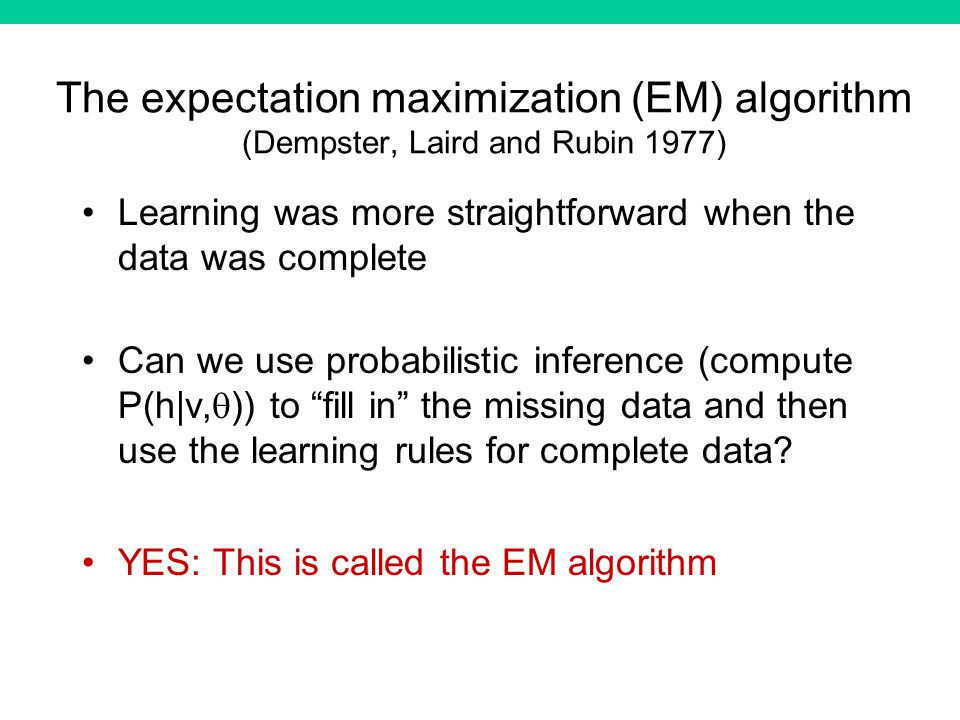 The expectation maximization (EM) algorithm (Dempster, Laird and Rubin 1977) Learning was more straightforward when the data was complete Can we use probabilistic inference (compute P(h|v, )) to fill in the missing data and then use the learning rules for complete data.