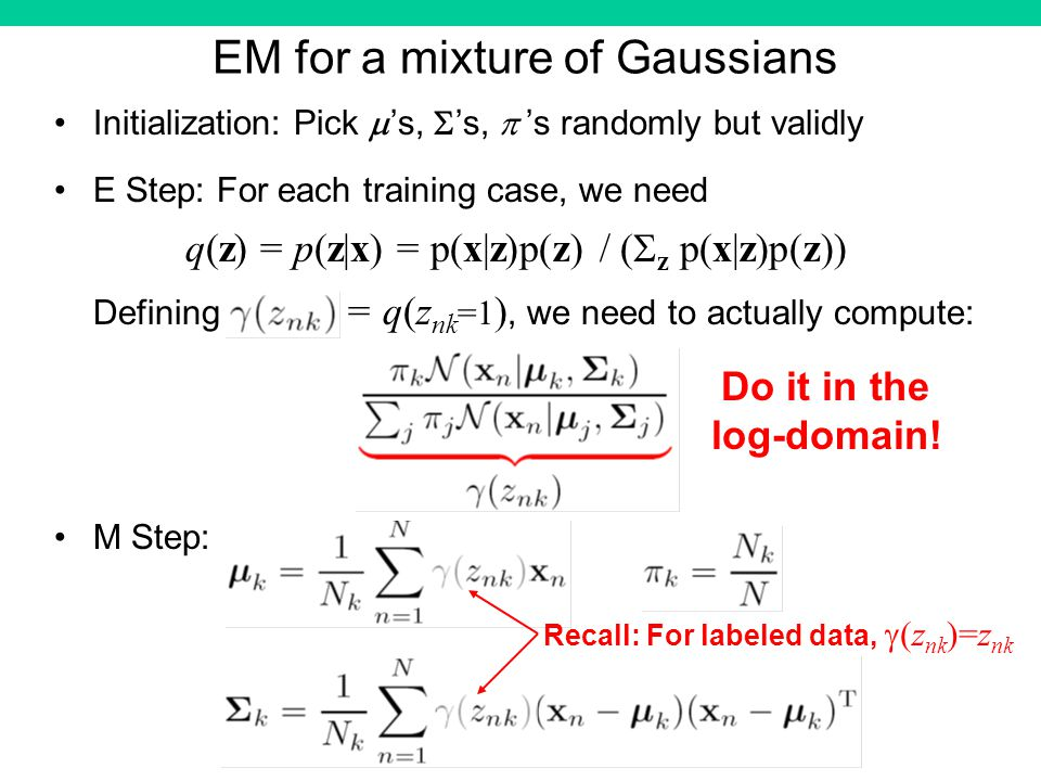 EM for a mixture of Gaussians Initialization: Pick s, s, s randomly but validly E Step: For each training case, we need q(z) = p(z|x) = p(x|z)p(z) / ( z p(x|z)p(z)) Defining = q(z nk =1 ), we need to actually compute: M Step: Do it in the log-domain.