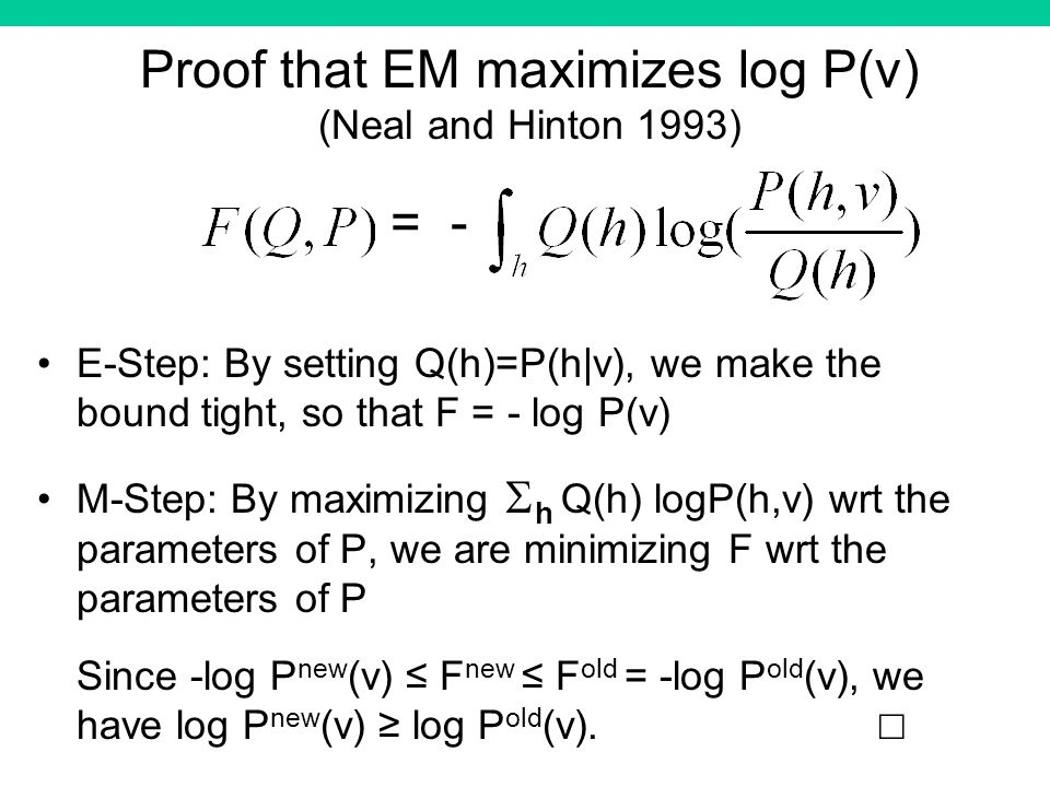 Proof that EM maximizes log P(v) (Neal and Hinton 1993) E-Step: By setting Q(h)=P(h|v), we make the bound tight, so that F = - log P(v) M-Step: By maximizing h Q(h) logP(h,v) wrt the parameters of P, we are minimizing F wrt the parameters of P Since -log P new (v) F new F old = -log P old (v), we have log P new (v) log P old (v).