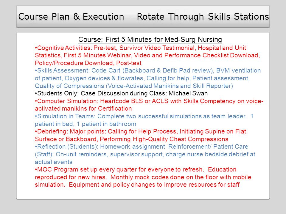 Course: First 5 Minutes for Med-Surg Nursing Cognitive Activities: Pre-test, Survivor Video Testimonial, Hospital and Unit Statistics, First 5 Minutes Webinar, Video and Performance Checklist Download, Policy/Procedure Download, Post-test Skills Assessment: Code Cart (Backboard & Defib Pad review), BVM ventilation of patient, Oxygen devices & flowrates, Calling for help, Patient assessment, Quality of Compressions (Voice-Activated Manikins and Skill Reporter) Students Only: Case Discussion during Class: Michael Swan Computer Simulation: Heartcode BLS or ACLS with Skills Competency on voice- activated manikins for Certification Simulation in Teams: Complete two successful simulations as team leader.