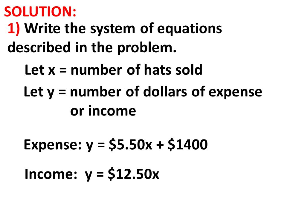 SOLUTION: 1) Write the system of equations described in the problem. Income: y = $12.50x Let x = number of hats sold Let y = number of dollars of expe