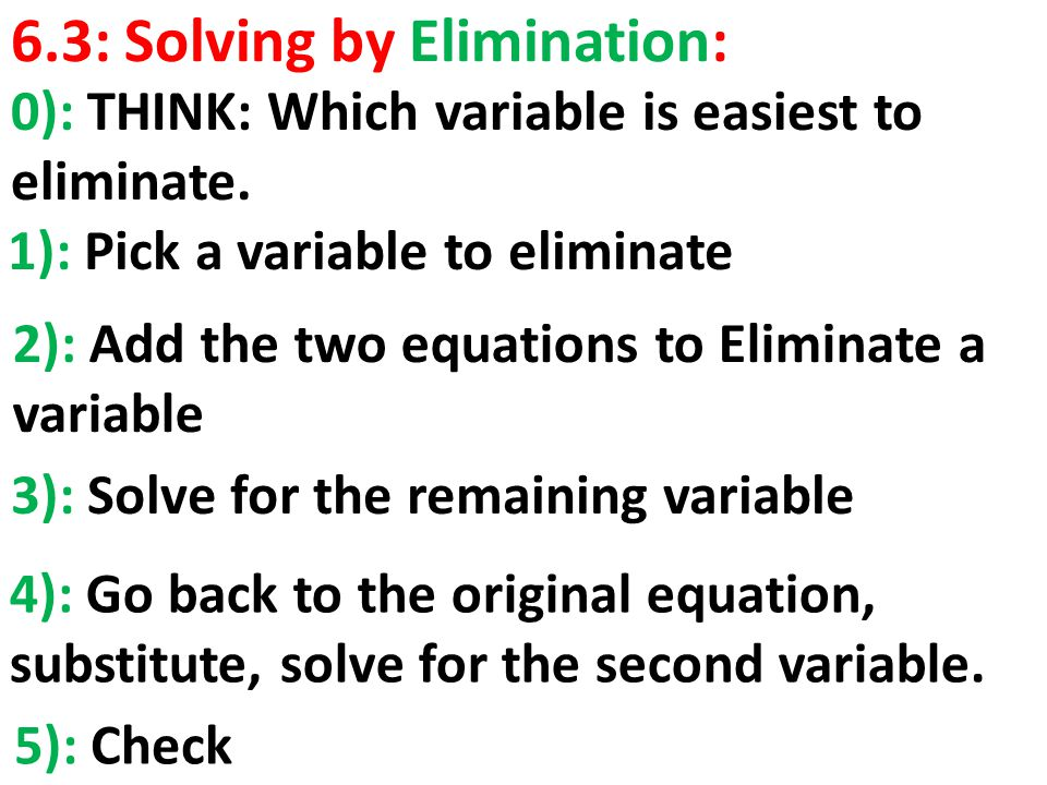 6.3: Solving by Elimination: 1): Pick a variable to eliminate 2): Add the two equations to Eliminate a variable 3): Solve for the remaining variable 4): Go back to the original equation, substitute, solve for the second variable.