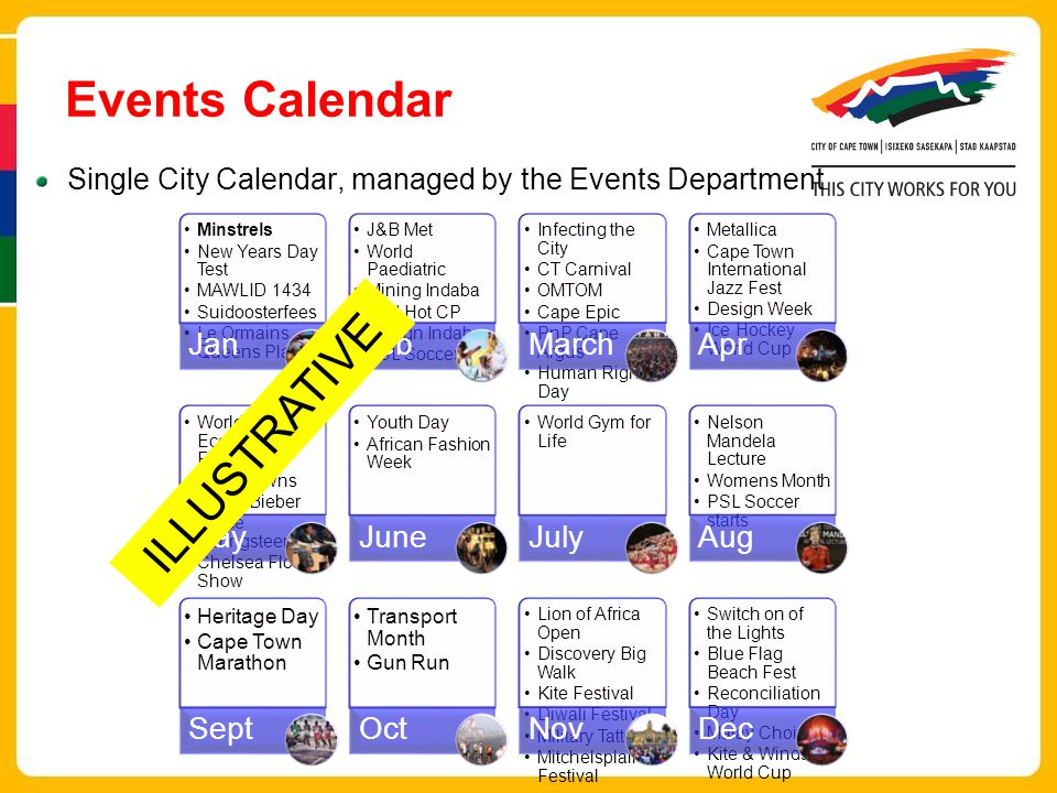 Events Calendar Single City Calendar, managed by the Events Department Minstrels New Years Day Test MAWLID 1434 Suidoosterfees Le Ormains Queens Plate