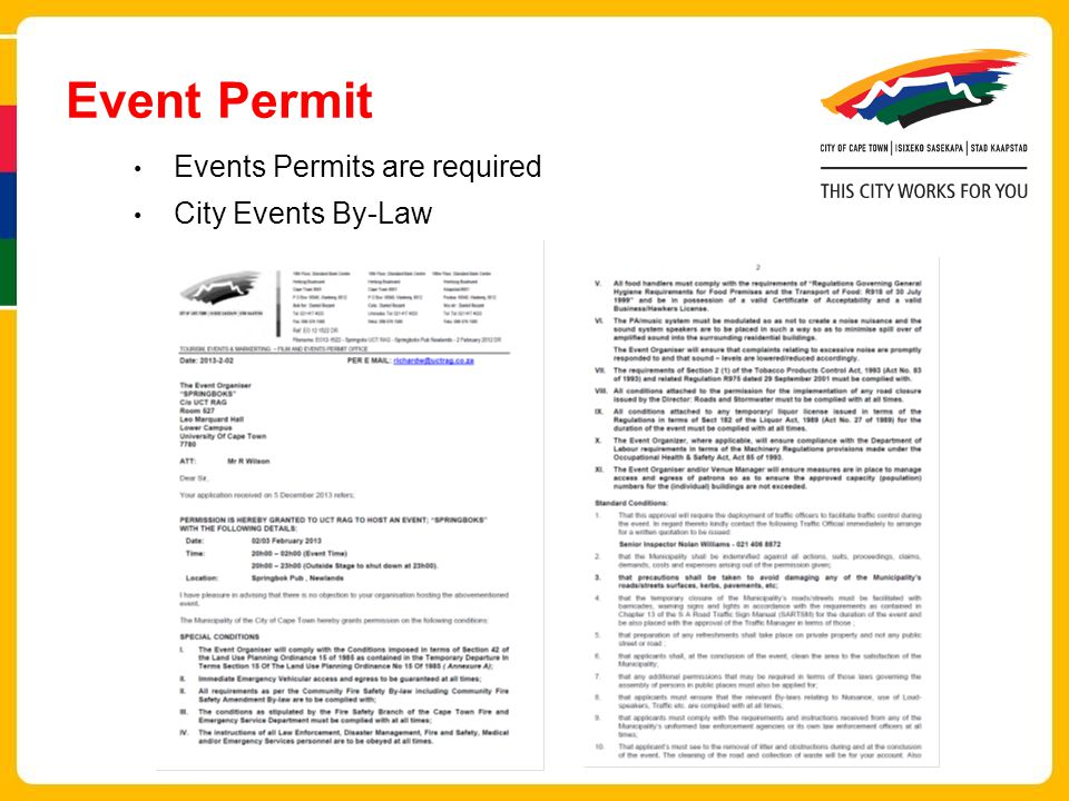 Event Permit Events Permits are required City Events By-Law