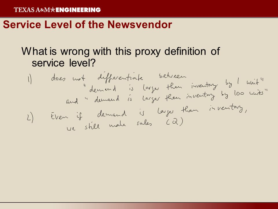 Service Level of the Newsvendor What is wrong with this proxy definition of service level