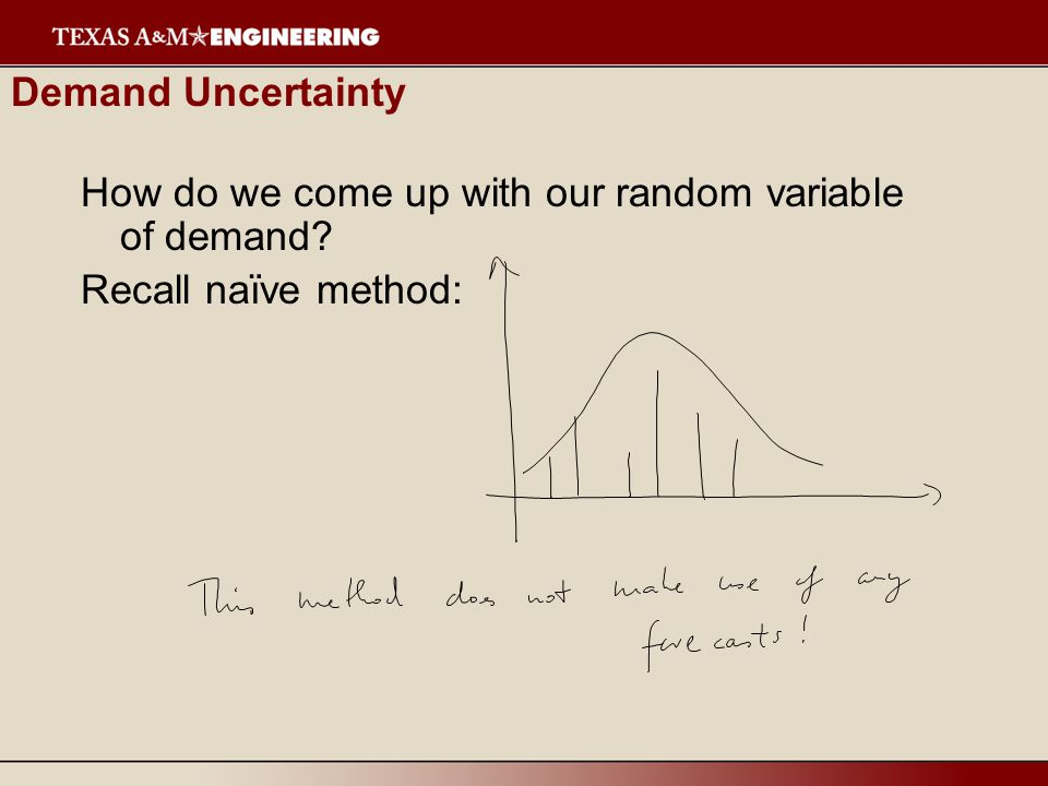 Demand Uncertainty How do we come up with our random variable of demand Recall naïve method: