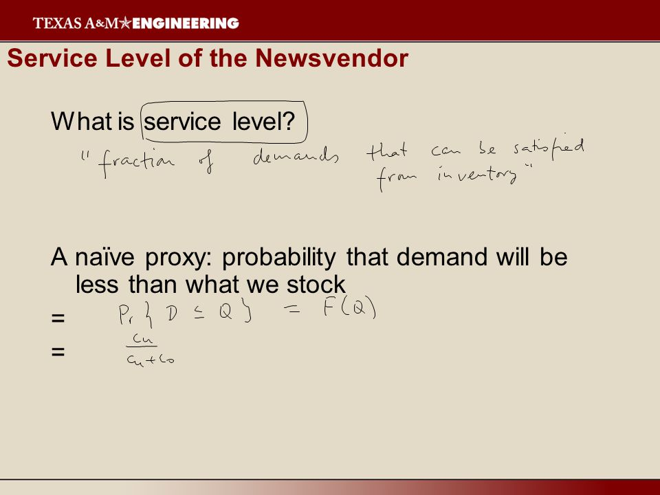 Service Level of the Newsvendor What is service level.