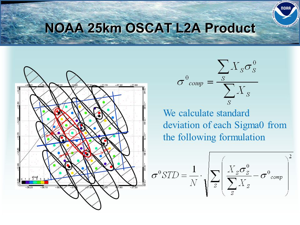 NOAA 25km OSCAT L2A Product σ 0 1 σ 0 2 σ 0 3 We calculate standard deviation of each Sigma0 from the following formulation