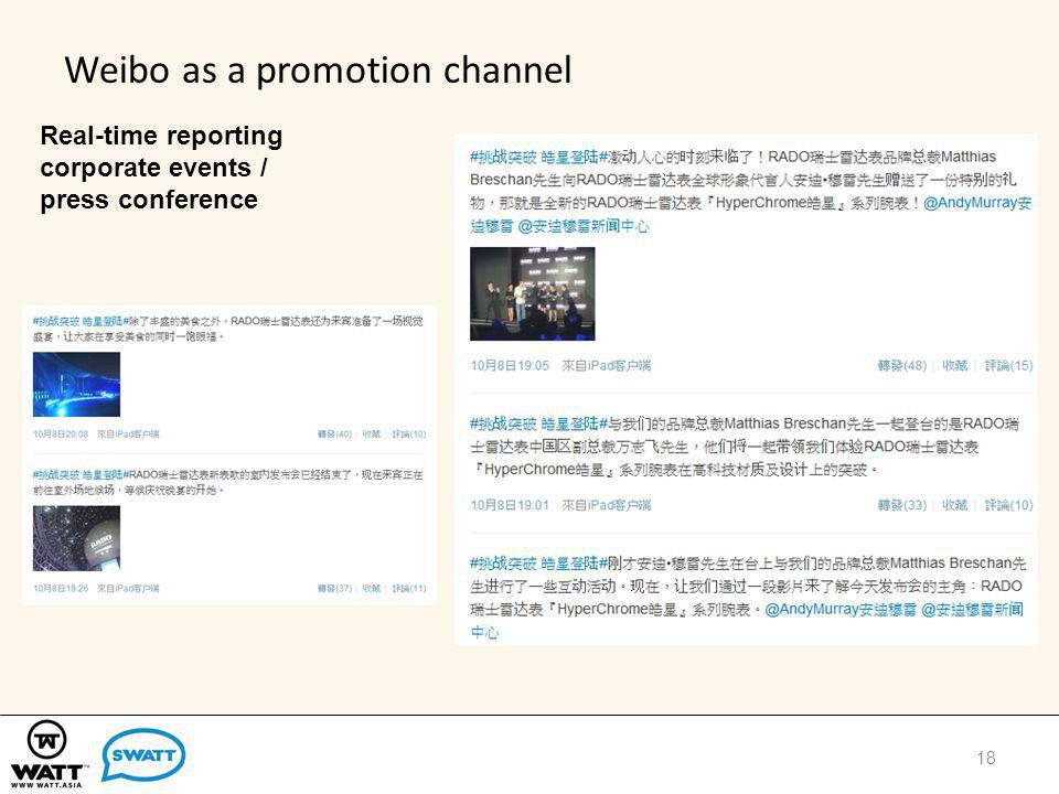 Weibo as a promotion channel Real-time reporting corporate events / press conference 18