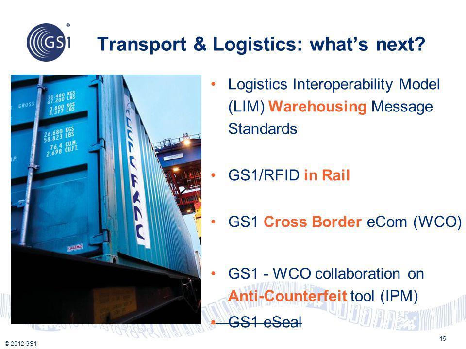 © 2012 GS1 Transport & Logistics: whats next? Logistics Interoperability Model (LIM) Warehousing Message Standards GS1/RFID in Rail GS1 Cross Border e