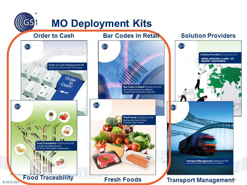MO Deployment Kits Fresh Foods Building partnerships to enable GS1 Standards Implementations Order to Cash Transport Management Solution Providers 4 B