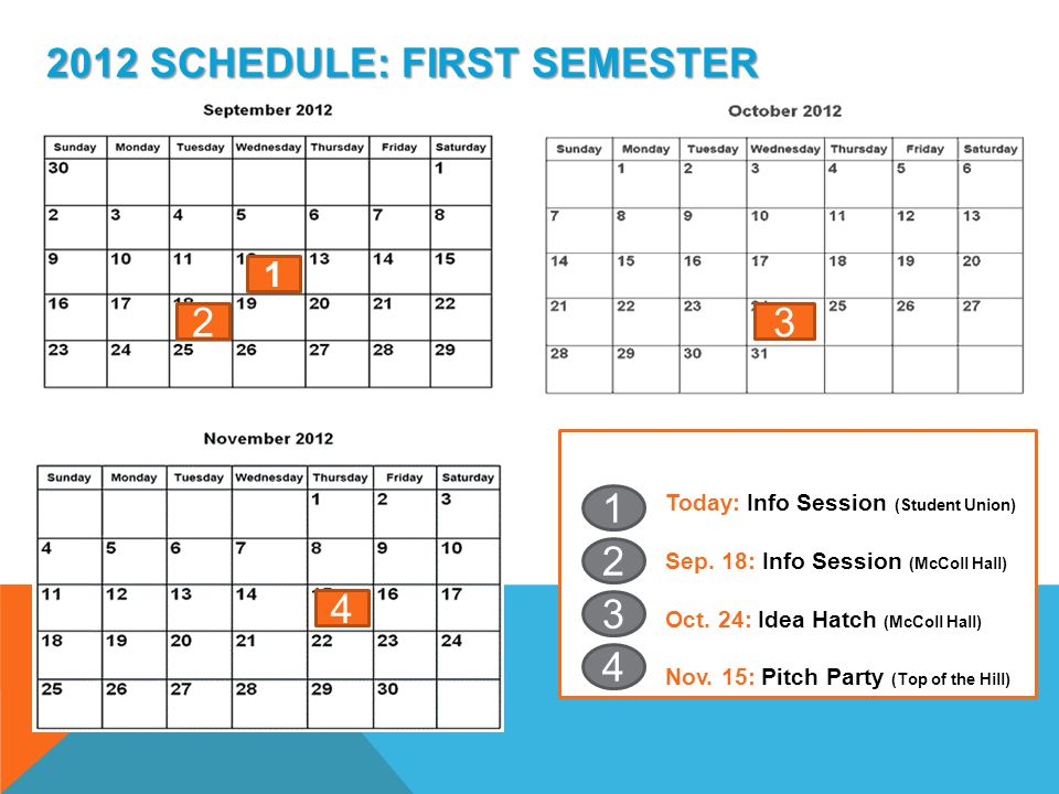 2012 SCHEDULE: FIRST SEMESTER 1 23 4 Today: Info Session (Student Union) Sep.