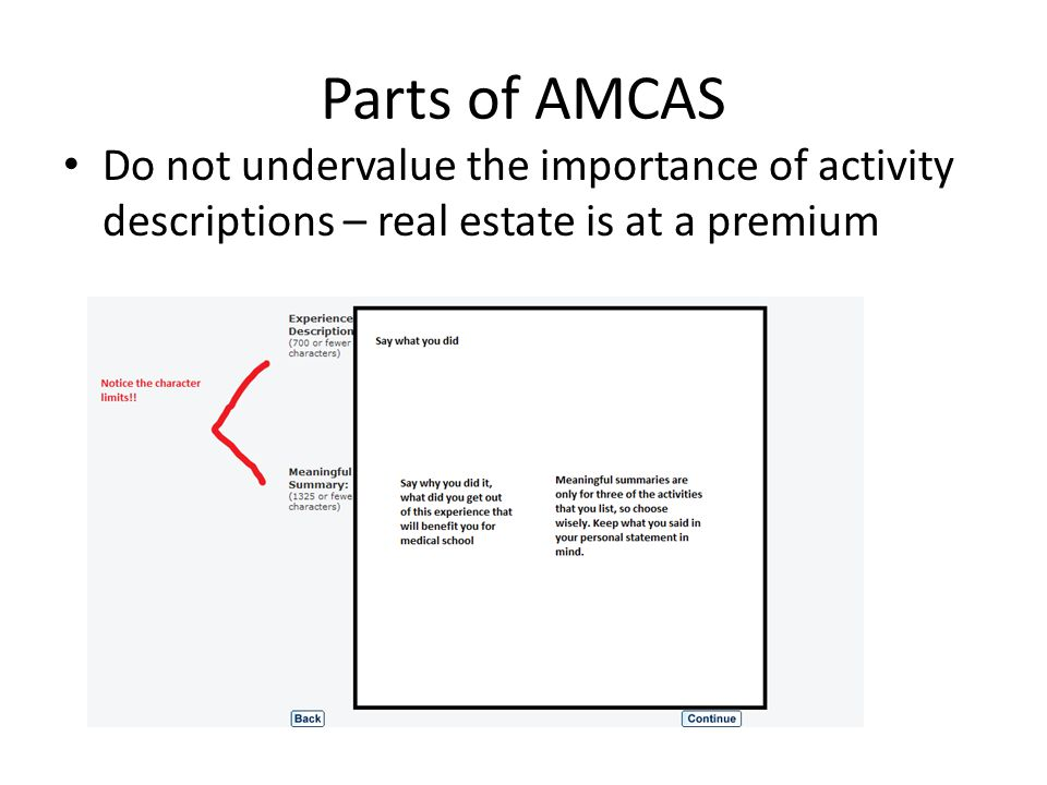 Parts of AMCAS Do not undervalue the importance of activity descriptions – real estate is at a premium