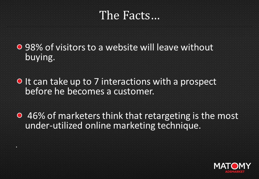 The Facts… 98% of visitors to a website will leave without buying.