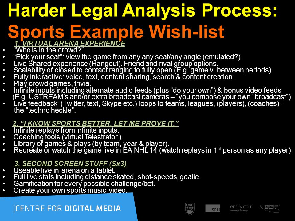 Harder Legal Analysis Process: Sports Example Wish-list 1.