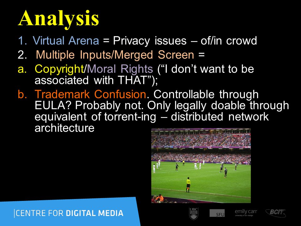 Analysis 1.Virtual Arena = Privacy issues – of/in crowd 2.