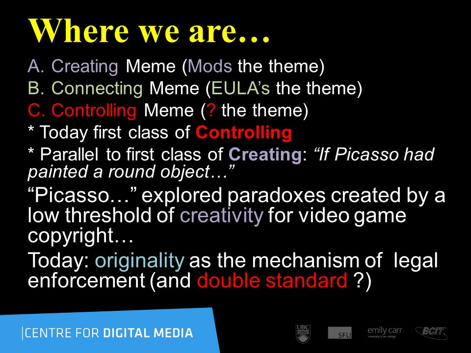 Follow-ups… This week follows-up on Jennifer Kellys presentation last week… & follows-up to our what is a video-game course meme… All in the contexts of: CREATIVITY ORIGINALITY & CONTROL