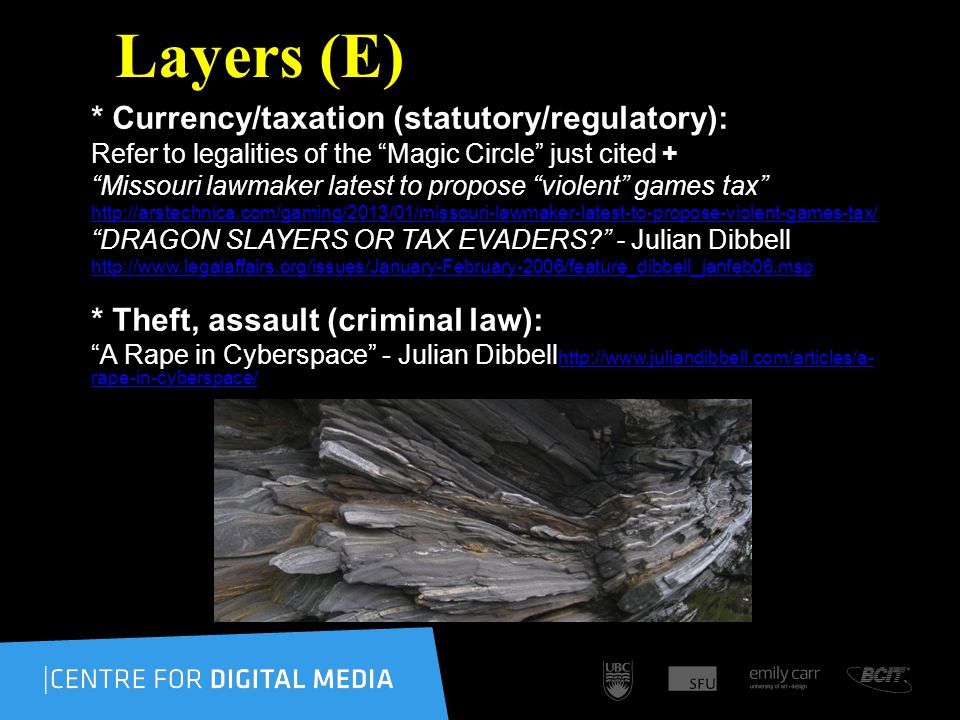 Layers (E) * Currency/taxation (statutory/regulatory): Refer to legalities of the Magic Circle just cited + Missouri lawmaker latest to propose violent games tax http://arstechnica.com/gaming/2013/01/missouri-lawmaker-latest-to-propose-violent-games-tax/ DRAGON SLAYERS OR TAX EVADERS.