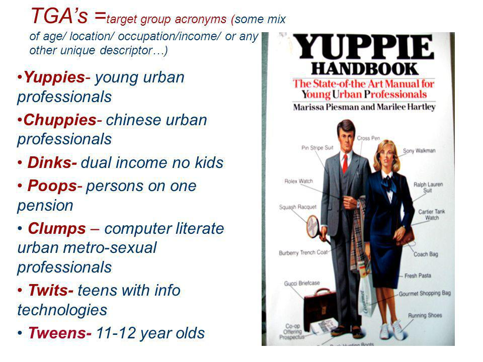 Yuppies- young urban professionals Chuppies- chinese urban professionals Dinks- dual income no kids Poops- persons on one pension Clumps – computer literate urban metro-sexual professionals Twits- teens with info technologies Tweens- 11-12 year olds TGAs = target group acronyms (some mix of age/ location/ occupation/income/ or any other unique descriptor…)
