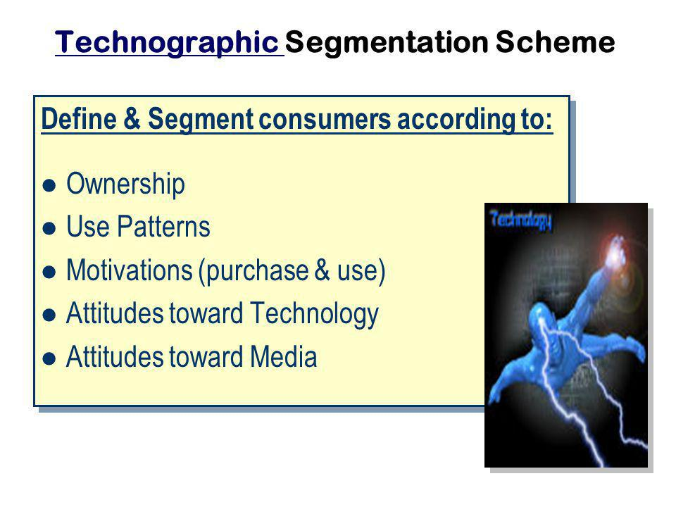 Technographic Technographic Segmentation Scheme Define & Segment consumers according to: Ownership Use Patterns Motivations (purchase & use) Attitudes toward Technology Attitudes toward Media Define & Segment consumers according to: Ownership Use Patterns Motivations (purchase & use) Attitudes toward Technology Attitudes toward Media