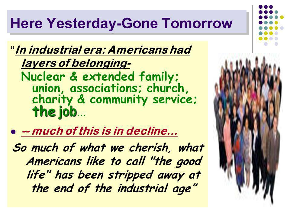 Here Yesterday-Gone Tomorrow In industrial era: Americans had layers of belonging- the job Nuclear & extended family; union, associations; church, charity & community service; the job … -- much of this is in decline… So much of what we cherish, what Americans like to call the good life has been stripped away at the end of the industrial age
