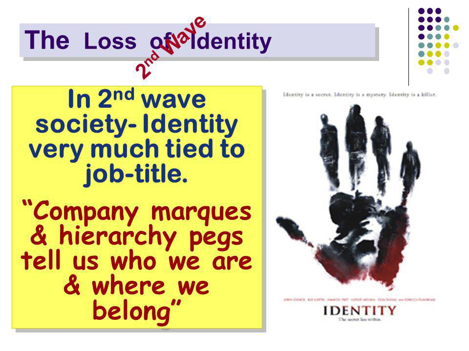 The Loss of Identity In 2 nd wave society- Identity very much tied to job-title.