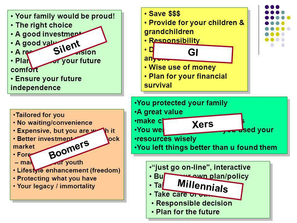 Save $$$ Provide for your children & grandchildren Responsibility Dont be a burden to anyone Wise use of money Plan for your financial survival Save $$$ Provide for your children & grandchildren Responsibility Dont be a burden to anyone Wise use of money Plan for your financial survival Your family would be proud.