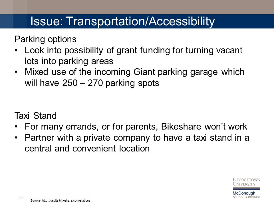 Issue: Transportation/Accessibility 20 Source: http://capitalbikeshare.com/stations Parking options Look into possibility of grant funding for turning vacant lots into parking areas Mixed use of the incoming Giant parking garage which will have 250 – 270 parking spots Taxi Stand For many errands, or for parents, Bikeshare wont work Partner with a private company to have a taxi stand in a central and convenient location