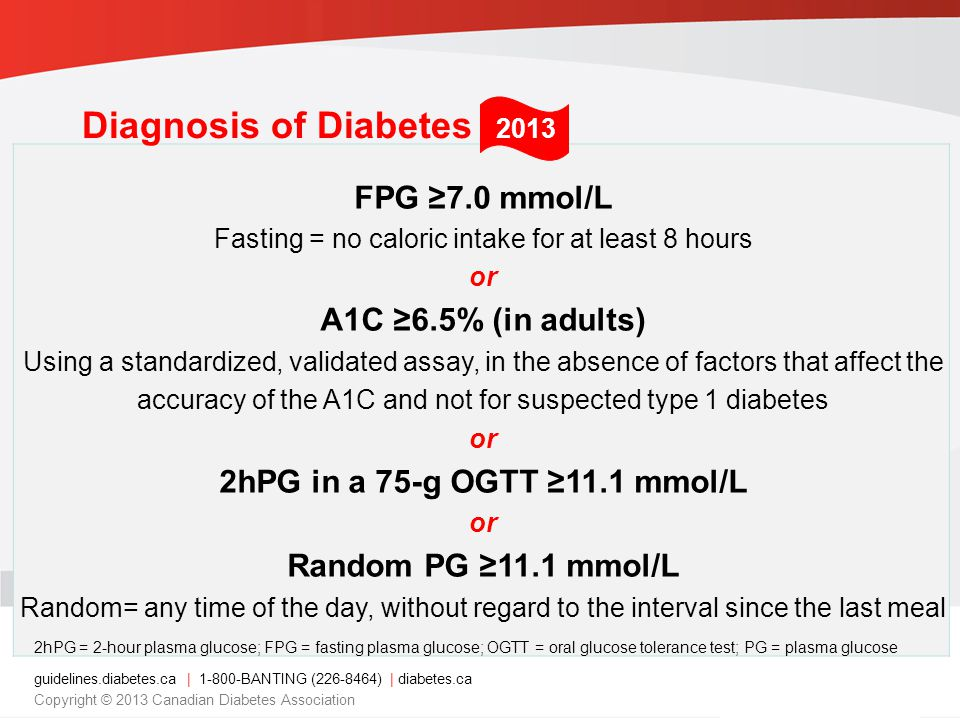 guidelines.diabetes.ca | 1-800-BANTING (226-8464) | diabetes.ca Copyright © 2013 Canadian Diabetes Association FPG 7.0 mmol/L Fasting = no caloric intake for at least 8 hours or A1C 6.5% (in adults) Using a standardized, validated assay, in the absence of factors that affect the accuracy of the A1C and not for suspected type 1 diabetes or 2hPG in a 75-g OGTT 11.1 mmol/L or Random PG 11.1 mmol/L Random= any time of the day, without regard to the interval since the last meal 2hPG = 2-hour plasma glucose; FPG = fasting plasma glucose; OGTT = oral glucose tolerance test; PG = plasma glucose Diagnosis of Diabetes 2013