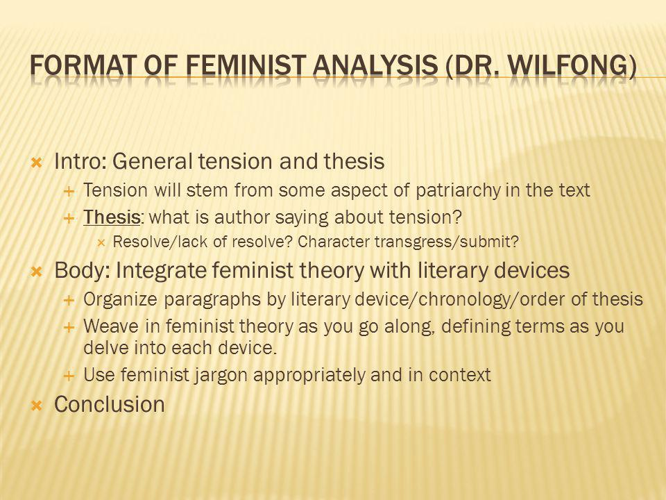 Intro: General tension and thesis Tension will stem from some aspect of patriarchy in the text Thesis: what is author saying about tension.