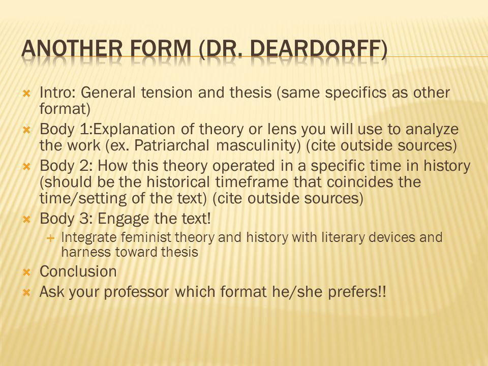 Intro: General tension and thesis (same specifics as other format) Body 1:Explanation of theory or lens you will use to analyze the work (ex.