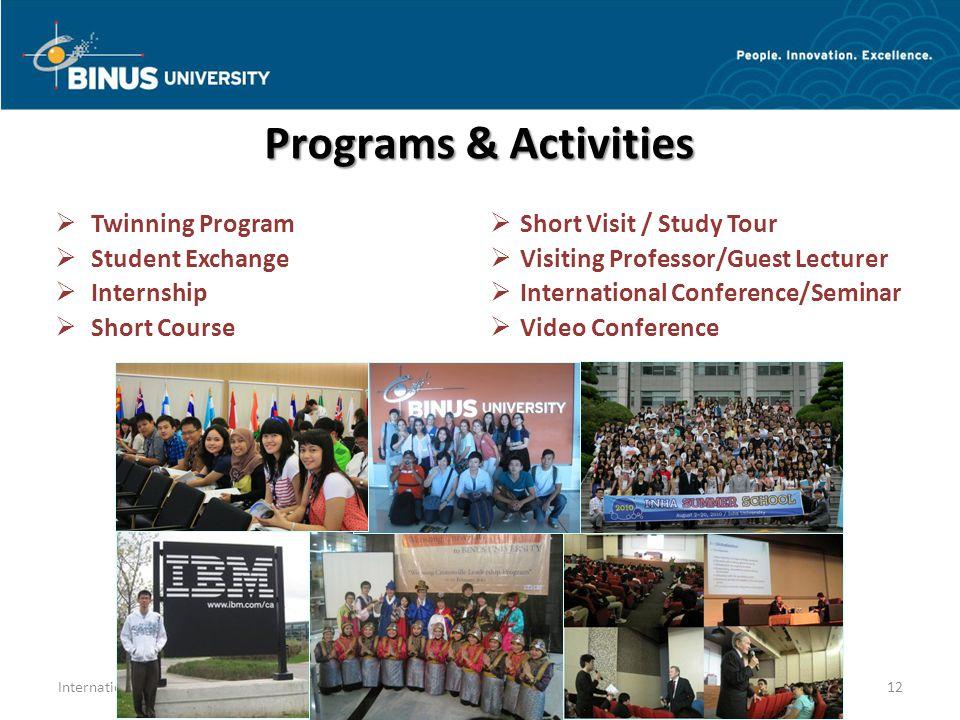 Twinning Program Student Exchange Internship Short Course Short Visit / Study Tour Visiting Professor/Guest Lecturer International Conference/Seminar