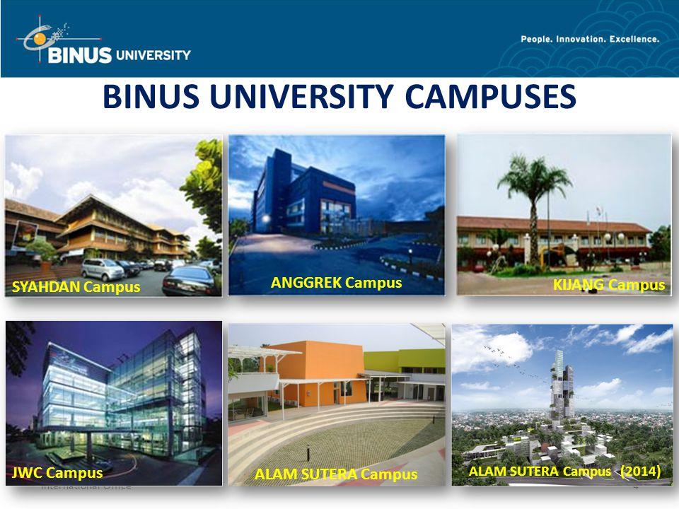 4 BINUS UNIVERSITY CAMPUSES SYAHDAN CampusKIJANG Campus ANGGREK Campus JWC Campus ALAM SUTERA Campus ALAM SUTERA Campus (2014)