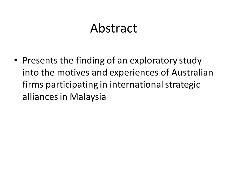 Abstract Presents the finding of an exploratory study into the motives and experiences of Australian firms participating in international strategic alliances in Malaysia