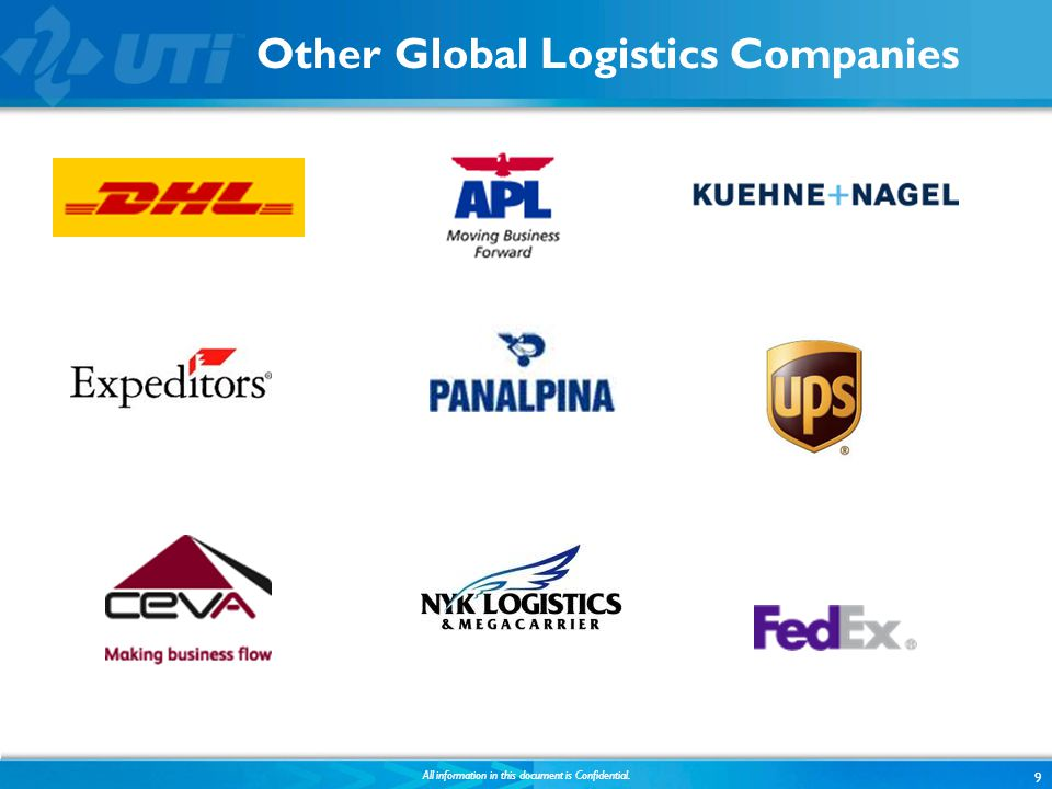 Other Global Logistics Companies 9 All information in this document is Confidential.