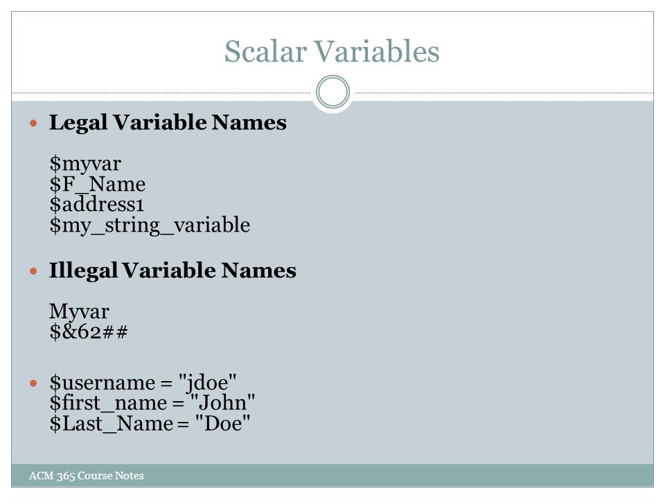 Scalar Variables ACM 365 Course Notes
