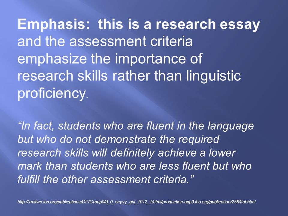 Whenever questionnaires have been used or statistics presented, student must show an understanding of the results and be able to interpret them with reference to the issue.