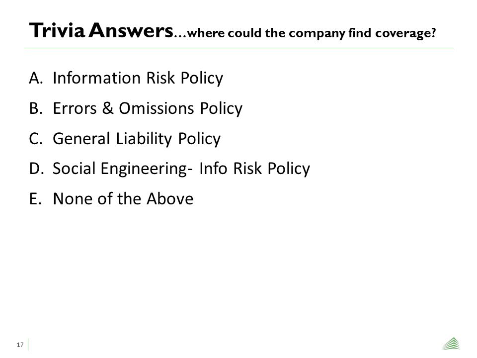 Trivia Answers …where could the company find coverage.