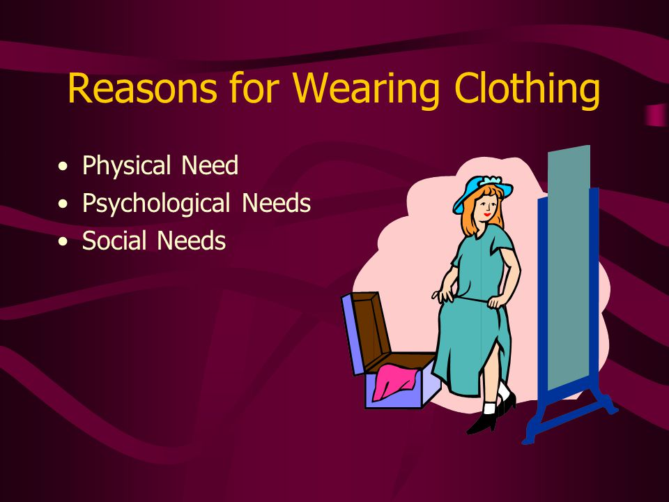 Reasons for Wearing Clothing Physical Need Psychological Needs Social Needs