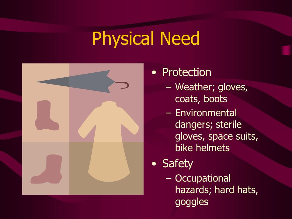 Physical Need Protection –Weather; gloves, coats, boots –Environmental dangers; sterile gloves, space suits, bike helmets Safety –Occupational hazards