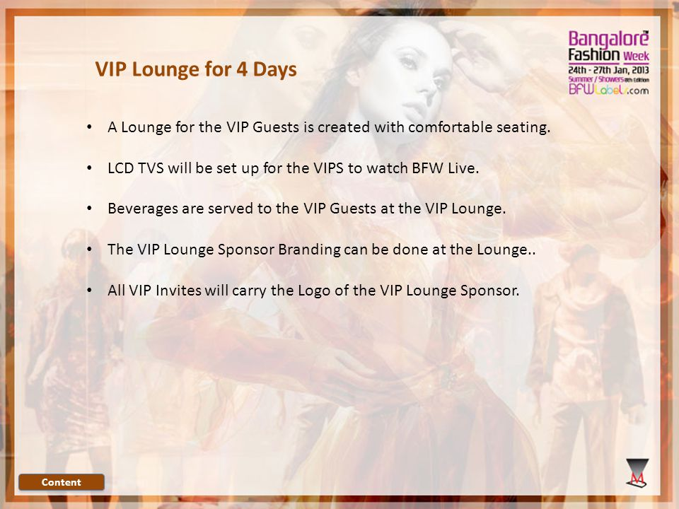 A Lounge for the VIP Guests is created with comfortable seating.
