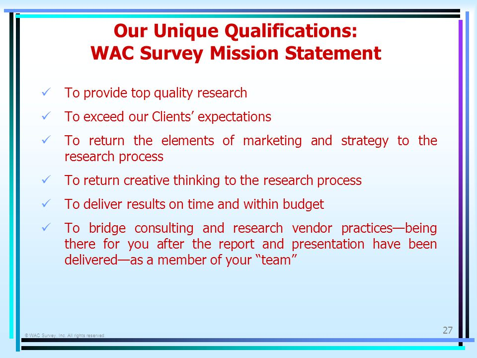 © WAC Survey, Inc. All rights reserved.